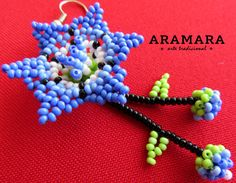 Mexican Huichol Beaded Blue Flower Earrings AF-0047 by Aramara