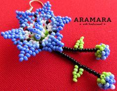 Mexican Huichol Beaded Blue Flower Earrings AF-0047 by Aramara
