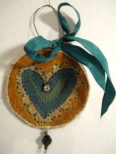 Primitive Mixed Media Needlepunch Teal Heart Ornament