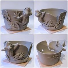 Frog yarn bowl. Unfired. Made to order at earthwoolfire.etsy.com