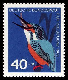 Art Sello animal arte alemán-1963-Kingfisher