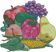 Fruit Vegetables embroidery design  AnnTheGran.com