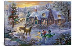 Christmas Cottage II Wrapped Canvas #ad