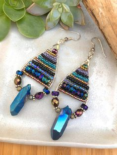 Rainbow Aura Quartz Hoop Earrings with Czech Glass and Sterling Silver