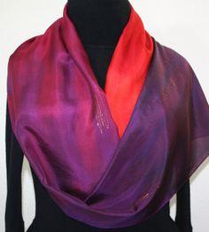 Hand Painted Silk Scarf Sunset Hug Silk by SilkScarvesColorado, $54.00
