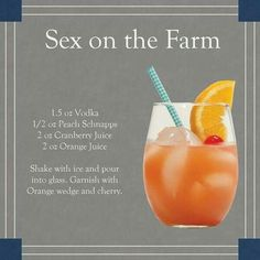 Sex on the Farm drink Vodka, peach schnapps, cranberry juice and orange juice. Also called Jamaican Sweetheart - swap cranberry for strawberry mix Fancy Drinks, Vodka Drinks, Bar Drinks, Cocktail Drinks, Alcoholic Drinks, Martinis, Drinks Alcohol, Refreshing Drinks, Yummy Drinks
