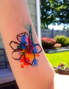lovely water color tattoo (actually I think this is paint unless it's amazingly realistic)