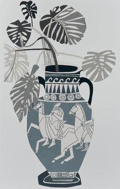 "etudes-studio: "" JONAS WOOD Grey Greek Pot, 2015 Oil and acrylic on canvas 120 × 76 inches × 193 cm) © Jonas Wood "" Art Et Illustration, Illustrations, Jonas Wood, Etudes Studio, Gagosian Gallery, Greek Pottery, Greek Art, Art Plastique, Ancient Art"
