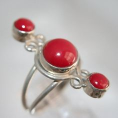 'Red Bamboo Coral Cabochon Ring 925 SS Sz 6' is going up for auction at  5am Wed, Jun 19 with a starting bid of $6.