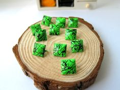 50pcs 12MM Green with Black Color Splash Pyramid Studs by eSupply, $1.99