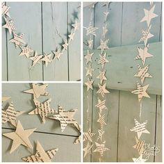 Simple vintage bookpage star garland. Light enough to be hung on almost any surface including the mantlepiece/chimney breast! Simple and stunning. Hand cut on a garland that is approximately 5ft, 10ft or 20 ft (1.5, 3 or 6 meters) and sewn with matching extra strength thread,