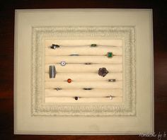 Framed ring display.  HandmadebyIs: Marco para anillos.  I've made similar items:  visit Hobby Lobby for supplies and your attic for inspiration.