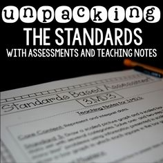 Unpacking the Standards: Assessments and Teaching Notes for Math and English Language Arts {Aligned to Student Data Tracking Binders}