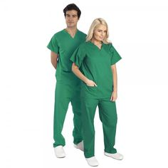 This basic Budget Scrubs unisex set or scrub suit is great for kitting out your department.These hospital scrubs are made from lightweight fabric consisting of a polyester and a cotton mix. This Budget Scrubs scrub suit is basic & does the job. Green Scrubs, Medical Scrubs, Unisex, Budgeting, Spa, Jumpsuit, Nails, Cotton, Dresses