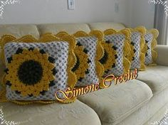 crochelinhasagulhas: Almofada de girassol em crochê Mais