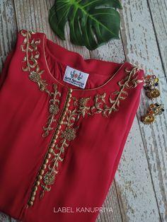 Kurti Embroidery Design, Embroidery On Kurtis, Embroidery Fashion, Embroidery Dress, Ribbon Embroidery, Neck Designs For Suits, Dress Neck Designs, Stylish Dress Designs, Simple Pakistani Dresses