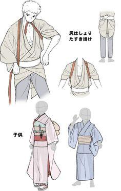 How to draw traditional japanese clothing (Kimono, Yukata) - Drawing Reference