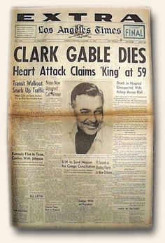 November 1960 was a sad day in filmdom ~ Clark Gable passed away. The King… Newspaper Front Pages, Vintage Newspaper, Front Page News, Nostalgia, Newspaper Headlines, Headline News, Sad Day, Interesting History, Bad News