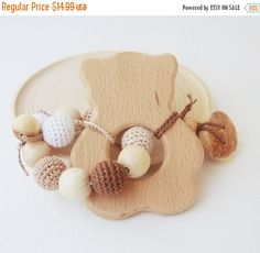 SALE Wooden teether Bear with bege and brown crocheted beads- Newborn toy - Baby shower gift - Wooden Chewing toy