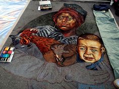 Work-in-progress image of the piece Vera Bugatti created for the Sarasota Chalk Festival in 2010. We wonder what she will come up with this year!