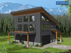 Modern Garage Apartment Plan with Boat Storage Garage Apartment Plans, Garage Apartments, Plan Chalet, Carriage House Plans, Modern Mountain Home, Mountain Home Plans, Mountain Homes, Mountain Cabins, Mountain Home Exterior