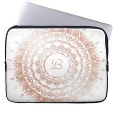 Rose Gold White Floral Mandala Monogram Laptop Sleeve - elegant gifts classic stylish gift idea diy style