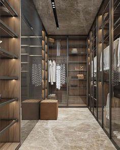 Um a super Tendencia apontada na última feira de Milão closet com mix de portas em vidro transparente vidro leitoso e partes abertas.