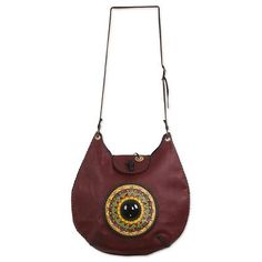 Leather and obsidian shoulder bag, 'Jobo' - Hand Painted Dark Red Leather and Obsidian Shoulder Bag