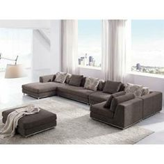 Tosh Furniture TOS-ANM9708-2 Modern Fabric Sectional Sofa in Brown