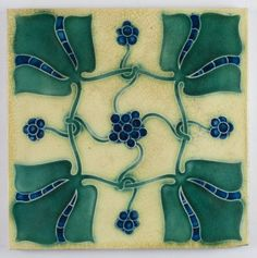 Lewis F Day Ceramic Tile, Antique Pilkington Arts & Crafts, love the colors, would make a patchwork pattern if done in a solid backsplash