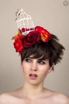 birdcage quirky fascinator hair band crown roses vintage avant garde ascot races