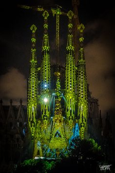 La Sagrada Familia at Night - Barcelona, Spain.  Looks very different with green coloration...