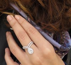 """Unique Pear Shaped Diamond """"Bliss"""" Ring & Matching diamond wedding band, Bridal Diamond Wedding & Engagement Ring Set - HANDMADE by Silly Shiny Diamonds, goldsmith & designer."""
