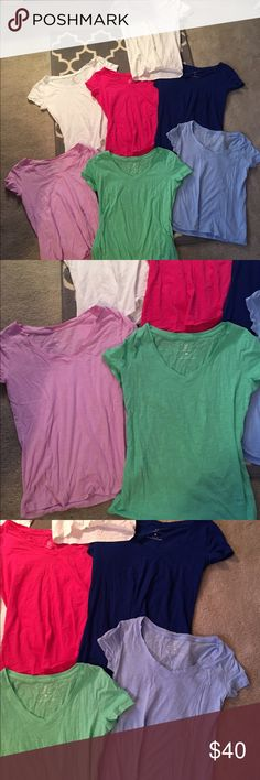 Bundle of 7 tshirts!! All like new! 2 white and then the rest of the colors you see here all included. Size XS from NYC which fits like small. One is a small from target ( one of the white ones) perfect for layering and for summer! New York & Company Tops Tees - Short Sleeve
