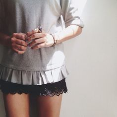 sweatshirt + lace http://girlsack.com/post/56708879097/a-little-mulberry-love-today#notes