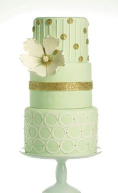 Mint & Gold Wedding Cake Design