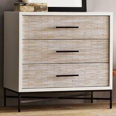 West Elm - Wood Tiled 3-Drawer Dresser