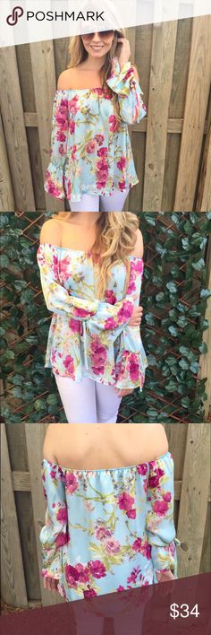 Floral off shoulder AStretch-Knit Top Featuring An Off-The-Shoulder Design, All Over Floral Print, Self-Tie Cuffs, And Long Sleeves.  -Wearing Size Small Tops Blouses