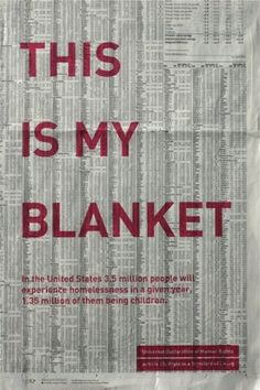 "Human Rights Poster: Communication ""This is my blanket"" Human Rights Poster Project at Designmatters at Art Center explores the social and humanitarian benefits of design and responsible business."