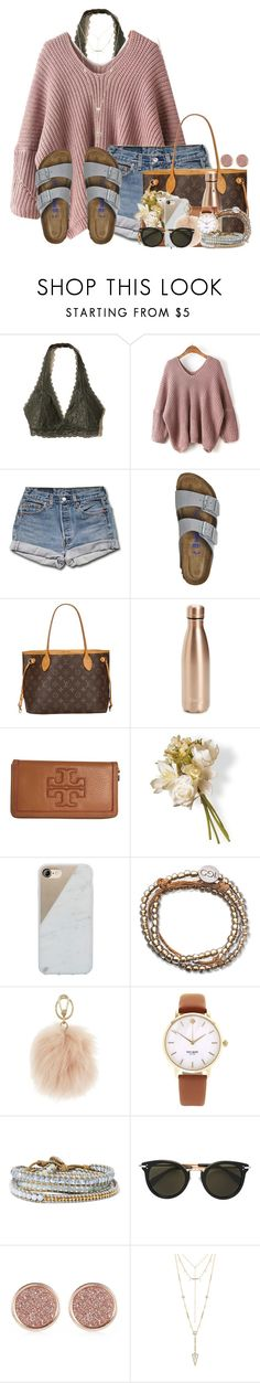"""""""Can't believe fall is almost here!"""" by annaewakefield ❤ liked on Polyvore featuring Hollister Co., WithChic, Birkenstock, Louis Vuitton, S'well, Tory Burch, National Tree Company, Native Union, 100 Good Deeds and Furla"""