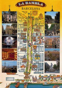 En el corazón de la ciudad: Mapa de Las Ramblas, Barcelona.