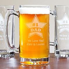 "Star Design Beer Mug and other at PersonalCreations.com $19.99  ""#1 DAD  WE LOVE YOU! JAKE & LAUREN"" - great personalized gift"