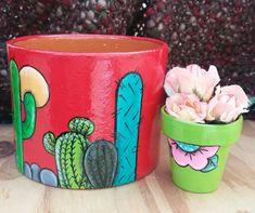 Flower Pot Art, Flower Pot Crafts, Painted Clay Pots, Painted Flower Pots, Cactus Clipart, Decorated Flower Pots, Pot Plante, Concrete Pots, Mosaic Diy