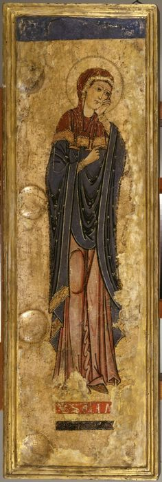 The Mourning Virgin Mary. Alberto Sotio (Italian, active 1187). Tempera paint gold on parchment mounted on wood panel  ca. 1180-1190.(Medieval) -