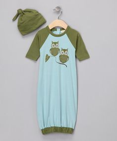 Take a look at this Light Blue Owl Organic Gown & Single-Knot Beanie - Infant by violet + moss Boys on #zulily today!