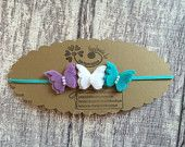Items similar to Lavender White and Teal Wool Felt Butterfly Trio Headband on Etsy