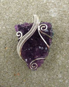 Amethyst Druzy Wire Wrapped Sterling Silver Chunky Swirly