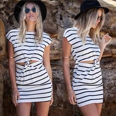 Coming soon! Stripe dress black white twist cutout Cute dress in xs or s ships in early feb ❤️ (NOTE: If purchased in a bundle, will be shipped separately when it arrives at now additional charge) ❤️ Dresses