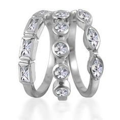 Bling Jewelry Baguette Marquise Round CZ Stackable Set of 3 Rings Silver >>> Find out more about the great product at the image link.(This is an Amazon affiliate link and I receive a commission for the sales) #Rings
