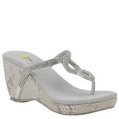 "$64.95 Volatile S'More in Black, Silver, or  Brown. Stylish and comfortable wedge thong sandals decorated with clear sparkling rhinestones. Wedge is 3 1/4"", and platform is 1"" high. Leather upper, softly padded inner sole, rubber outsole. Imported in full sizes."